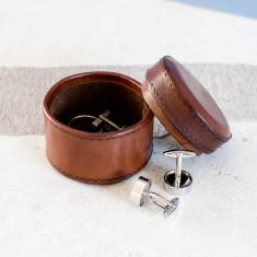 Personalised leather Cufflink Box Round