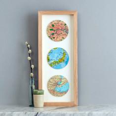Three map circle personalised wedding print