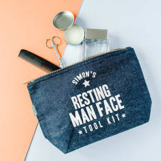 Personalised 'Resting Man Face' Tool Kit Wash Bag