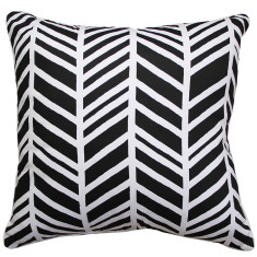 Geo chevron cushion cover in black