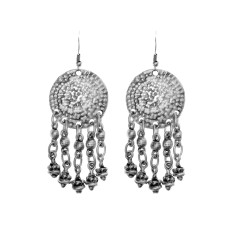 Textured silver drop dangle ethnic earrings