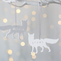 Personalised Arctic Fox Christmas Decoration