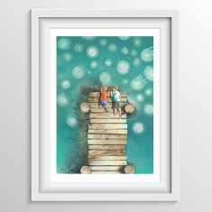 Children's Ocean Jellyfish Wall Art (Alphabet Art J) - 'Boys Watching Jellyfish from the Jetty'