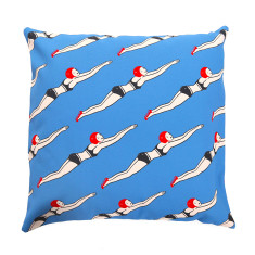 Miramar The Swimmers Basque Linen Cushion Cover