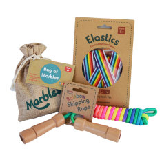 Retro Games Gift Set - Elastcs, Marbles and Skipping Rope