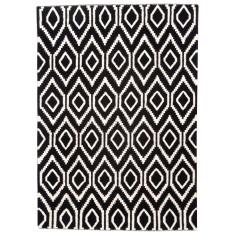Black & Ivory flat weave wool rug