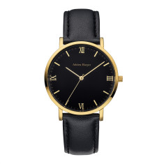 Eleanor - Gold Black Leather Watch