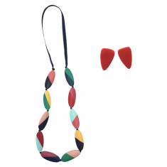 Carousel Abstract Stripe Necklace + Earrings Set (5 Colours Available)