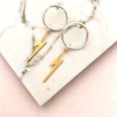 Gold lightning transformation earrings
