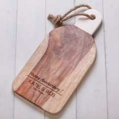 Personalised Rose wood Serving Board with Marble Handle