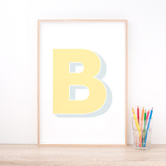 Personalised Yellow Letter Art Print