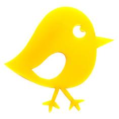 Yellow chirpy bird brooch