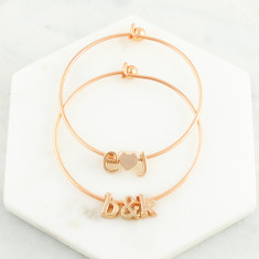 Personalised Initials & Ampersand/Heart bangle rose gold