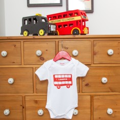 London bus onesie and bib boxed gift set