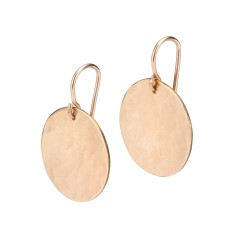 Gold disc earrings textured with planishing hammer