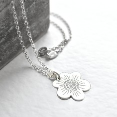Personalised sterling silver small flower necklace