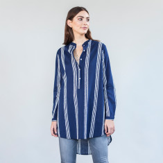 Navy stripe long shirt