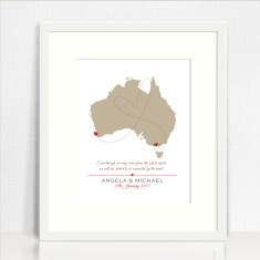 Australian map personalised couple's love print