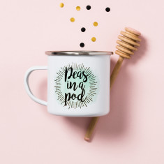 Personalised Peas In A Pod Enamel Mug