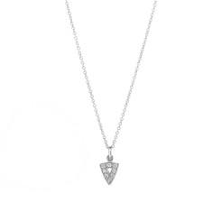 White gold diamond mini arrow head necklace