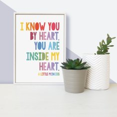 Little Princess 'I know you by heart' - framed mini children's print