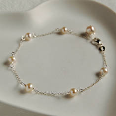 Delicate Sterling Silver And Pearl Bracelet