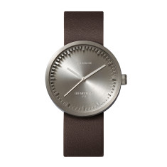 Leff Amsterdam tube watch D38 with brown leather strap steel finish