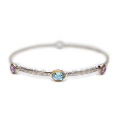 Amethyst and Blue Topaz Silver Bangle