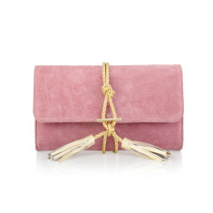 Marni Dust Pink Suede & Braided Leather Clutch