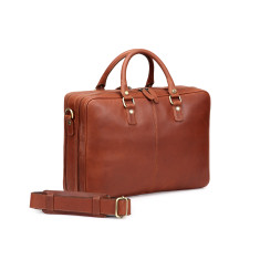 TheCultured Leather Double Zip Laptop Bag In Tan