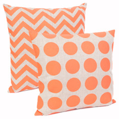 Zig zag & dots cushion in neon coral