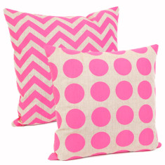 Zig zag & dots cushion in neon pink