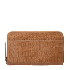Delilah leather wallet in tan croc