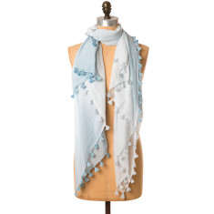Gypset ombre tassel scarf chambray blue
