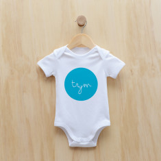 Personalised dot bodysuit in blue or melon