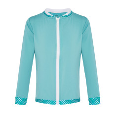 Zip-up rashie in aqua sea