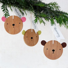 Family Set Of Personalised Bear Decorations