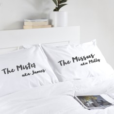 Personalised Wedding or Anniversary Pillowcases (Set Of Two)