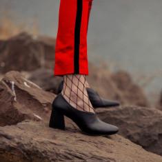 Tara Pump Heels in Black Leather