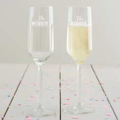 Personalised Surname Champagne Flute Set