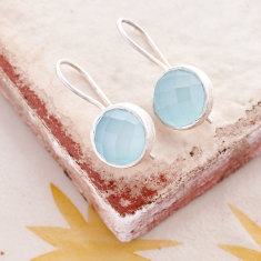 Cupcake larger drop earrings with aqua chalcedony in silver