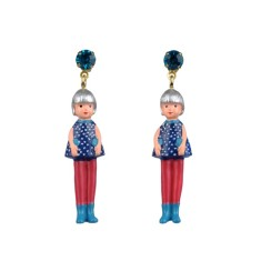 Silver doll earrings