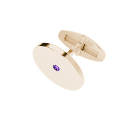 Round Rose Gold Cufflinks Amethyst