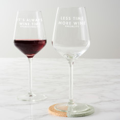 Personalised 'Less Time, More Wine' Wine Glass