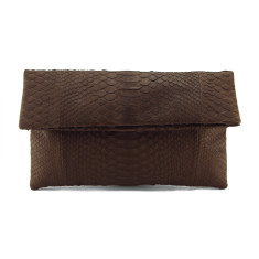Walnut brown python leather classic foldover clutch