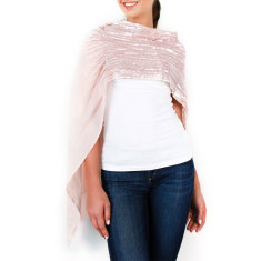 Sequin Amelie Shawl In Pink Champagne
