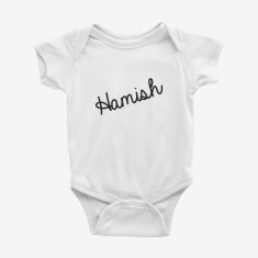 Personalised Script Name printed baby onesie (various colours)