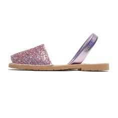 Joan leather glitter sandals in fuchsia