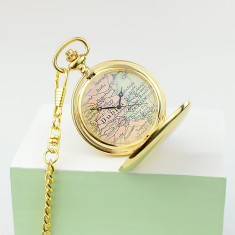 Personalised map pocket watch in gold