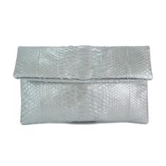 Solid silver python leather classic foldover clutch